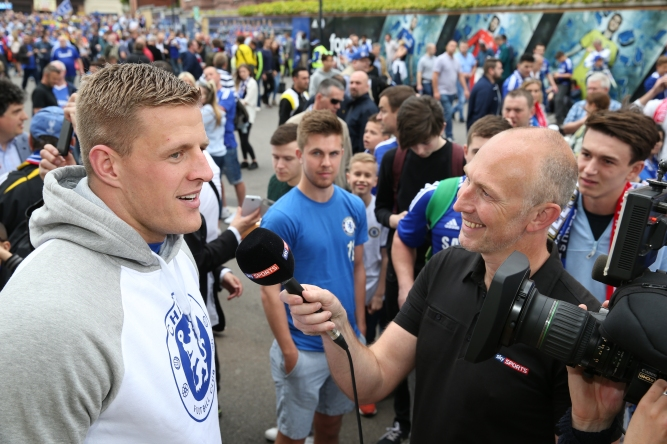 24/5/2015 Stamford Bridge London UK Houston Texan's NFL Defensive player of the Year and Chelsea Fan   JJ Watt  pictured Pre Game Outside Stamford Bridge being interviewed by Sky Sports and NFL UK's Neil Reynolds     Picture Dave Shopland /NFL UK