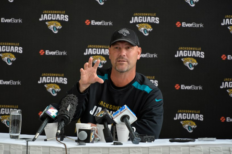 Jaguars head coach Gus Bradley talks to the media. Jacksonville Jaguars practice at The Grove Hotel, Watford. The Dallas Cowboys and the Jacksonville Jaguars play in the NFL International Series at Wembley Stadium in London on Sunday, Nov 9. 5/11/14 photo: Sean Ryan /NFL