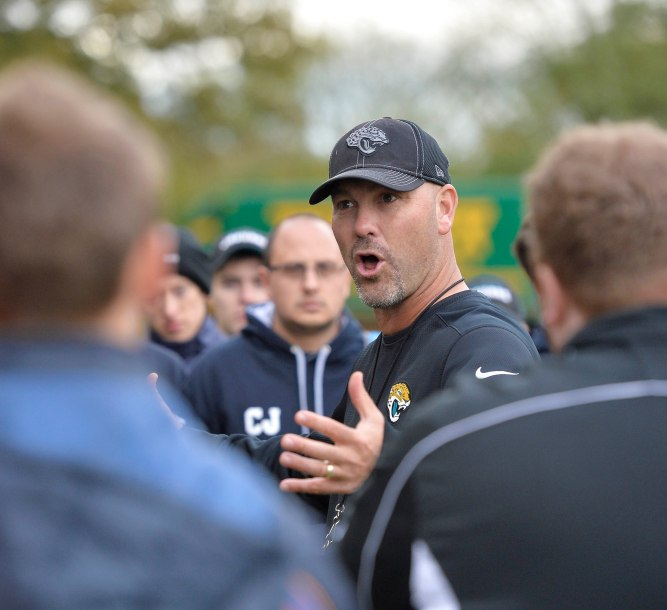 Jaguars head coach Gus Bradley meets the British American Football Association (BAFA) coaches after practice. Jacksonville Jaguars practice at The Grove Hotel, Watford. The Dallas Cowboys and the Jacksonville Jaguars play in the NFL International Series at Wembley Stadium in London on Sunday, Nov 9. 7/11/14 photo: Sean Ryan /NFL