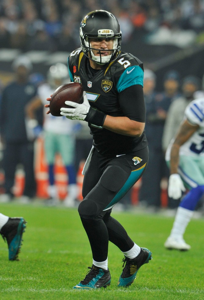 Blake Bortles of the Jacksonville Jaguars. Dallas Cowboys  v Jacksonville Jaguars,  NFL International Series at Wembley Stadium in London. 9/11/14, photo: Sean Ryan /NFL