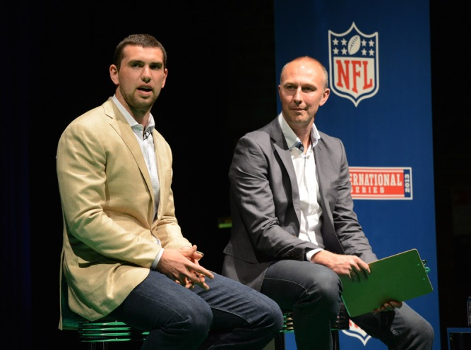 24/5/2013 NFL INDIANAPOLIS COLTS QUARTERBACK ANDREW LUCK IN Q&A SESSION WITH LONDON NFL FANS  HOSTED BY SKY SPORTS NEIL REYNOLDS AT BLACKFRIARS LONDON FRIDAY NIGHT   Picture Dave Shopland/NFL UK