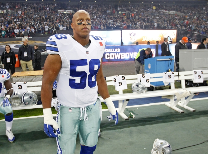 Dallas Cowboys defensive tackle Jack Crawford (58) during an NFL football game against the Jacksonville Jaguars on Sunday, November 9, 2014 at Wembley Stadium in London, England.  The Cowboys defeated the Jaguars, 31-17. (AP Photo/James D Smith)