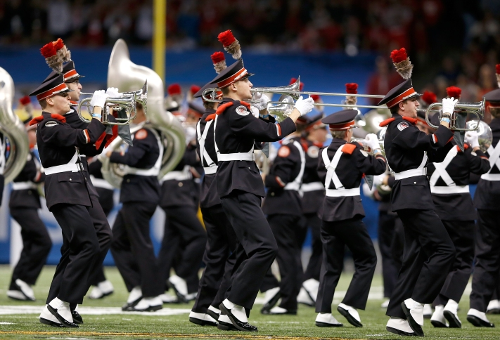 The Ohio State Buckeyes marching band performs prior to the Sugar Bowl NCAA college football playoff semifinal game against the Alabama Crimson Tide at the Mercedes-Benz Superdome on Thursday, January 1, 2015 in New Orleans, Louisiana. Ohio State won 42-35. (AP Photo/Aaron M. Sprecher)